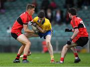 4 November 2018; Tholom Guiry of The Nire in action against Thomas Burke, left, and Mark Connolly of Adare during the AIB Munster GAA Football Senior Club Championship quarter-final match between Adare and The Nire at the Gaelic Grounds in Limerick. Photo by Piaras Ó Mídheach/Sportsfile