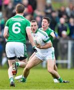 4 November 2018; Tomas McCann of Cargan Erin's Own in action against Niall MacAoidh of Gaoth Dobhair during the AIB Ulster GAA Football Senior Club Championship quarter-final match between Cargan Erin's Own and Gaoth Dobhair at Corrigan Park in Antrim. Photo by Mark Marlow/Sportsfile