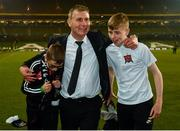 4 November 2018; Dundalk manager Stephen Kenny with sons Eóin, left, and Fionn following the Irish Daily Mail FAI Cup Final match between Cork City and Dundalk at the Aviva Stadium in Dublin. Photo by Ramsey Cardy/Sportsfile