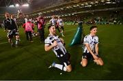 4 November 2018; Patrick Hoban, left, and Jamie McGrath of Dundalk celebrate following the Irish Daily Mail FAI Cup Final match between Cork City and Dundalk at the Aviva Stadium in Dublin. Photo by Ramsey Cardy/Sportsfile