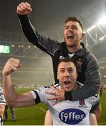 4 November 2018; Brian Gartland and Ronan Murray of Dundalk celebrate after the Irish Daily Mail FAI Cup Final match between Cork City and Dundalk at the Aviva Stadium in Dublin. Photo by Eóin Noonan/Sportsfile