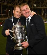4 November 2018; Dundalk manager Stephen Kenny, right, with assistant manager Vinny Perth following the Irish Daily Mail FAI Cup Final match between Cork City and Dundalk at the Aviva Stadium in Dublin. Photo by Ramsey Cardy/Sportsfile
