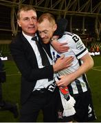 4 November 2018; Dundalk manager Stephen Kenny and Chris Shields following the Irish Daily Mail FAI Cup Final match between Cork City and Dundalk at the Aviva Stadium in Dublin. Photo by Ramsey Cardy/Sportsfile