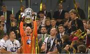 4 November 2018; Gary Rogers of Dundalk lifts the trophy following the Irish Daily Mail FAI Cup Final match between Cork City and Dundalk at the Aviva Stadium in Dublin. Photo by Ramsey Cardy/Sportsfile