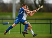 3 November 2018; Donal Burke of Ireland in action against Craig Ritchie of Scotland during the U21 Hurling Shinty International 2018 match between Ireland and Scotland at Games Development Centre in Abbotstown, Dublin. Photo by Piaras Ó Mídheach/Sportsfile