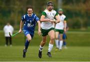 3 November 2018; Donal Burke of in action against Ross MacMillan of Scotland during the U21 Hurling Shinty International 2018 match between Ireland and Scotland at Games Development Centre in Abbotstown, Dublin. Photo by Piaras Ó Mídheach/Sportsfile