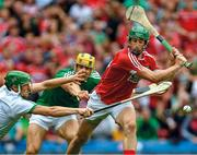 """The Sports Illustrated moment of the week. Nickie Quaid times his intervention to perfection to bat away the ball as Cork captain Séamus Harnedy is about to lower the blade – Dan Morrissey can't believe what he's seeing. The iconic US magazine described this pivotal moment from the semi-final as """"jaw-dropping"""" in a feature on hurling, claiming """"You can't really call yourself a sports fan if you don't appreciate this play.""""    This image may be reproduced free of charge when used in conjunction with a review of the book """"A Season of Sundays 2018"""". All other usage © SPORTSFILE"""