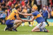 "Name the winner here because both Clare captain Patrick O'Connor and Tipperary's Séamus Callanan seem to be down in the dumps after the game. The exchange typifies the mutual respect in hurling and O'Connor's gesture is particularly gracious given that Tipperary's season is over.  This image may be reproduced free of charge when used in conjunction with a review of the book ""A Season of Sundays 2018"". All other usage © SPORTSFILE"