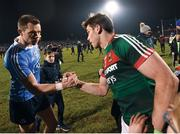 "No hard feelings. Dean Rock and Lee Keegan share a moment in MacHale Park, their first onfield meeting since the 2017 All-Ireland football final when Rock kicked a dramatic injury-time winner – and Keegan made imaginative use of his GPS tracker.    This image may be reproduced free of charge when used in conjunction with a review of the book ""A Season of Sundays 2018"". All other usage © SPORTSFILE"