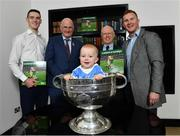 5 November 2018;  In attendance at the launch of A Season of Sundays 2018 at The Croke Park in Dublin is 10 month old Rian Cuddihy, from Harold's Cross, Dublin, grandson of Sportsfile photographer Ray McManus, with, from left, Dublin footballer Brian Fenton, Uachtarán Chumann Lúthchleas Gael John Horan, John Comerford, Chief Operations Officer, Carrolls of Tullamore, and Dublin footballer Ciarán Kilkenny. Photo by Ramsey Cardy/Sportsfile