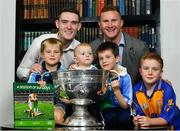 5 November 2018;  In attendance at the launch of A Season of Sundays 2018 at The Croke Park in Dublin are, from left, 6 year old Patrick McNamara, 10 month old Rian Cuddihy, 8 year old Joe McNamara, and Liam Horan, son of Uachtarán Chumann Lúthchleas Gael John Horan, with Dublin footballers Brian Fenton, left, and Ciarán Kilkenny. Photo by Ramsey Cardy/Sportsfile