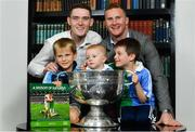 5 November 2018;  In attendance at the launch of A Season of Sundays 2018 at The Croke Park in Dublin is 10 month old Rian Cuddihy, centre, from Harold's Cross, Dublin, grandson of Sportsfile photographer Ray McManus, 6 year old Patrick, left, and 8 year old Joe McNamara, from Harold's Cross, Dublin, with Dublin footballers Brian Fenton, left, and Ciarán Kilkenny. Photo by Ramsey Cardy/Sportsfile