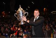 5 November 2018; Brian Gartland of Dundalk holds up the Irish Daily Mail Cup during the Dundalk team's Homecoming at Market Square in Dundalk, Co. Louth. Photo by Ben McShane/Sportsfile