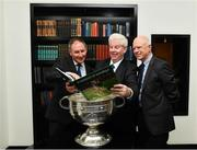 5 November 2018;  In attendance at the launch of A Season of Sundays 2018 at The Croke Park in Dublin is All-Ireland winning Dublin football manager Jim Gavin, Sportsfile's Ray McManus and John Comerford, Chief Operations Officer, Carrolls of Tullamore. Photo by Ramsey Cardy/Sportsfile