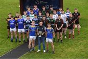 6 November 2018; Kildare footballers Eoin Doye with Liam Broderick, left, and Jack Hamill, of 2017 champions Naas CBS, with fellow post primary players during a Leinster GAA Top Oil Post Primary Football Launch at Naas Racecourse in Naas, Co. Kildare. Photo by Piaras Ó Mídheach/Sportsfile