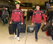 7 November 2018; Shane Moloney, left, and Johnny Coen of Galway as the Galway players depart for the Wild Geese Cup in Sydney, Australia, Terminal 1, Dublin Airport, Dublin. Photo by Ray McManus/Sportsfile