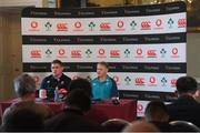 8 November 2018; Head coach Joe Schmidt and Tadhg Furlong during an Ireland rugby press conference at Carton House in Maynooth, Co Kildare. Photo by Piaras Ó Mídheach/Sportsfile