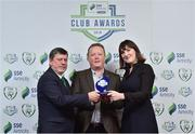 8 November 2018; FAI President Donal Conway and Ruth Ryan, Marketing Specialist with SSE Airtricity presents the Best Overall Marketing Award to Mark Lynch from Shamrock Rovers during the SSE Airtricity League Club Awards at Clayton Hotel in Ballsbridge, Dublin. Photo by Matt Browne/Sportsfile