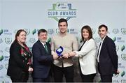 8 November 2018; FAI President Donal Conway and Áine Plunkett, Lead Marketing Manager with SSE Airtricity present the Multi Media Club of the Season Award to David Geary, centre, with Erika Ni Thuama, left, and Paul Wycherley, right, from Cork City during the SSE Airtricity League Club Awards at Clayton Hotel in Ballsbridge, Dublin. Photo by Matt Browne/Sportsfile
