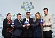 8 November 2018; FAI President Donal Conway and Leanne Sheill, Marketing Manager – Sponsorship and Reward with SSE Airtricity presents the SSE Airtricity League Club of the Season Award to Paul Wycherley, centre, Erika Ni Thuama and David Geary from Cork City from during the SSE Airtricity League Club Awards at Clayton Hotel in Ballsbridge, Dublin. Photo by Matt Browne/Sportsfile