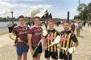 9 November 2018; Gearóid McInerney, left, Niall Burke, Galway, Eoin Murphy and Conor Fogarty, right, Kilkenny, in Sydney Harbour prior to the Wild Geese Cup in Sydney. Circular Quay, New South Wales, Australia. Photo by Ray McManus/Sportsfile