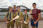 9 November 2018; Gearóid McInerney, right, and Niall Burke, Galway, with Padraig Frewen, Finn Lavelle, and Aidan Collins, pupils of the local St Ignatius College, in Sydney Harbour prior to the Wild Geese Cup in Sydney. Circular Quay, New South Wales, Australia  Photo by Ray McManus/Sportsfile