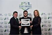 8 November 2018; FAI President Donal Conway and Leanne Sheill, Marketing Manager – Sponsorship and Reward with SSE Airtricity presents a certificate of commendation award for Multi Media to James Donnelly from Longford Town during the SSE Airtricity League Club Awards at Clayton Hotel in Ballsbridge, Dublin. Photo by Matt Browne/Sportsfile