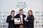 8 November 2018; FAI President Donal Conway and Leanne Sheill, Marketing Manager – Sponsorship and Reward with SSE Airtricity presents the Supporters Contribution Award to Tony Burke from Waterford FC during the SSE Airtricity League Club Awards at Clayton Hotel in Ballsbridge, Dublin.     Photo by Matt Browne/Sportsfile