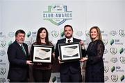 8 November 2018; FAI President Donal Conway and Leanne Sheill, Marketing Manager – Sponsorship and Reward with SSE Airtricity presents the Best Community Initiative Award certificate to Carina O'Brien and the runner-up certificate for SSE Airtricity League Club of the Season to Luke O'Riordan from Bohemians during the SSE Airtricity League Club Awards at Clayton Hotel in Ballsbridge, Dublin. Photo by Matt Browne/Sportsfile