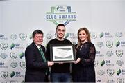 8 November 2018; FAI President Donal Conway and Leanne Sheill, Marketing Manager – Sponsorship and Reward with SSE Airtricity presents the Best Match Day Experience certificate to Shane Crossan from Sligo Rovers during the SSE Airtricity League Club Awards at Clayton Hotel in Ballsbridge, Dublin. Photo by Matt Browne/Sportsfile