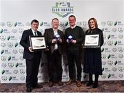 8 November 2018; FAI President Donal Conway and Leanne Sheill, Marketing Manager – Sponsorship and Reward with SSE Airtricity presents the Best Family Initiative Award to Mark Lynch, left, and present the Best Overall Marketing award to Bill Gleeson, right, from Shamrock Rovers during the SSE Airtricity League Club Awards at Clayton Hotel in Ballsbridge, Dublin. Photo by Matt Browne/Sportsfile
