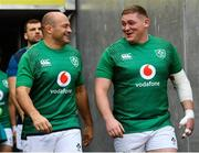 9 November 2018; Rory Best, left, and Tadhg Furlong ahead of the Ireland rugby captains run at the Aviva Stadium in Dublin. Photo by Ramsey Cardy/Sportsfile