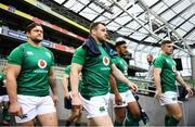 9 November 2018; Ireland players, from left, Andrew Porter, Cian Healy, Bundee Aki and Luke McGrath ahead of the Ireland rugby captains run at the Aviva Stadium in Dublin. Photo by Ramsey Cardy/Sportsfile