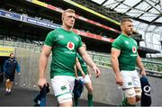 9 November 2018; Dan Leavy, left, and Sean O'Brien ahead of the Ireland rugby captains run at the Aviva Stadium in Dublin. Photo by Ramsey Cardy/Sportsfile