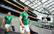 9 November 2018; Peter O'Mahony, right, and Jacob Stockdale ahead of the Ireland rugby captains run at the Aviva Stadium in Dublin. Photo by Ramsey Cardy/Sportsfile