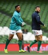 9 November 2018; Bundee Aki, left, and Robbie Henshaw during the Ireland rugby captains run at the Aviva Stadium in Dublin. Photo by Ramsey Cardy/Sportsfile
