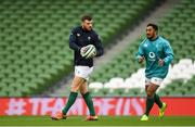 9 November 2018; Robbie Henshaw, left, and Bundee Aki during the Ireland rugby captains run at the Aviva Stadium in Dublin. Photo by Ramsey Cardy/Sportsfile