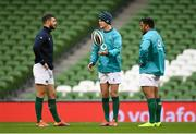 9 November 2018; Robbie Henshaw, left, Jonathan Sexton, centre, and Bundee Aki during the Ireland rugby captains run at the Aviva Stadium in Dublin. Photo by Ramsey Cardy/Sportsfile