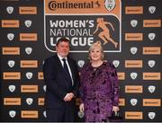 9 November 2018; FAI President Donal Conway and his wife Pat upon arrival at the Continental Tyres Women's National League Awards at the Ballsbridge Hotel in Dublin. Photo by Piaras Ó Mídheach/Sportsfile