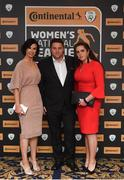 9 November 2018; Lorriane Counihan, FAI, with Dave Rooney and Shaune Rooney of Limerick WFC upon arrival at the Continental Tyres Women's National League Awards at the Ballsbridge Hotel in Dublin. Photo by Piaras Ó Mídheach/Sportsfile