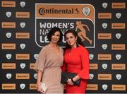 9 November 2018; Lorriane Counihan, FAI, and Shaune Rooney of Limerick WFC upon arrival at the Continental Tyres Women's National League Awards at the Ballsbridge Hotel in Dublin. Photo by Piaras Ó Mídheach/Sportsfile