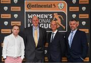 9 November 2018; Stephen Gray of Kilkenny WFC, Alan McDonald and Declan Bolland of Greystones FC with Shane Murray of Kilkenny WFC upon arrival at the Continental Tyres Women's National League Awards at the Ballsbridge Hotel in Dublin. Photo by Piaras Ó Mídheach/Sportsfile