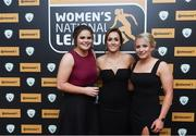 9 November 2018; Wexford Youth players, from left, Ciara Rossiter, Kylie Murphy and Nicola Sinnott, upon arrival at the Continental Tyres Women's National League Awards at the Ballsbridge Hotel in Dublin. Photo by Piaras Ó Mídheach/Sportsfile
