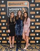 9 November 2018; Shelbourne WFC players, from left Jamie Finn, Malinda Allen and Amanda McQuillen upon arrival at the Continental Tyres Women's National League Awards at the Ballsbridge Hotel in Dublin. Photo by Piaras Ó Mídheach/Sportsfile