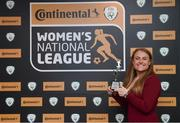 9 November 2018; Amber Barrett of Peamount United with her Top Goal Scorer award at the Continental Tyres Women's National League Awards at the Ballsbridge Hotel in Dublin. Photo by Piaras Ó Mídheach/Sportsfile