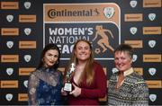 9 November 2018; Amber Barrett of Peamount United is presented with her Top Goal Scorer award by Fionnuala Moran Evoke.ie, left, and Niamh O'Donoghue, Chairperson, FAI Women's Football Committee, at the Continental Tyres Women's National League Awards at the Ballsbridge Hotel in Dublin. Photo by Piaras Ó Mídheach/Sportsfile