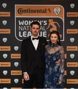 9 November 2018; Aaron Hartigan with Fionnuala Moran, Evoke.ie, upon arrival at the Continental Tyres Women's National League Awards at the Ballsbridge Hotel in Dublin. Photo by Piaras Ó Mídheach/Sportsfile