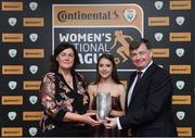 9 November 2018; U17 Player of the Year Emily Whelan of Shelbourne is presented with her award by Frances Smith, Women's National League Committee, and Eddie Ryan, Marketing Director Advance Pitstop, during the Continental Tyres Women's National League Awards at the Ballsbridge Hotel in Dublin. Photo by Piaras Ó Mídheach/Sportsfile