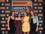 9 November 2018; Shelbourne WFC players, from left, Oleta Griffin, Emily Whelan, Isibeal Atkinson and Rebecca Cooke upon arrival at the Continental Tyres Women's National League Awards at Ballsbridge Hotel, in Dublin. Photo by Piaras Ó Mídheach/Sportsfile