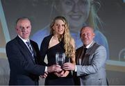 9 November 2018; Tom Dennigan, left, from Continental Tyres and Republic of Ireland under-19 manager Dave Connell  present Erica Turner from UCD Waves with her Young Player of the Year award during the Continental Tyres Women's National League Awards at the Ballsbridge Hotel in Dublin. Photo by Matt Browne/Sportsfile